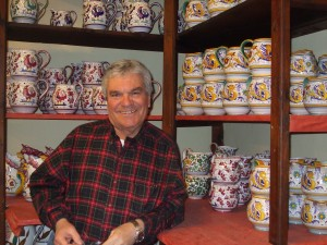 Ubaldo Grazia with some of his fabulous majolica, in Deruta.